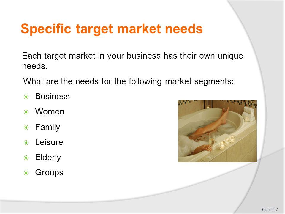 Specific target market needs