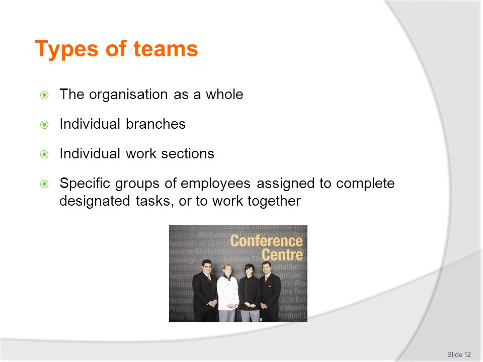 Types of teams The organisation as a whole Individual branches