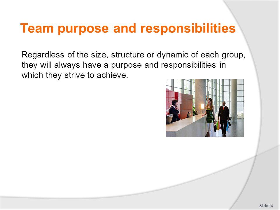 Team purpose and responsibilities