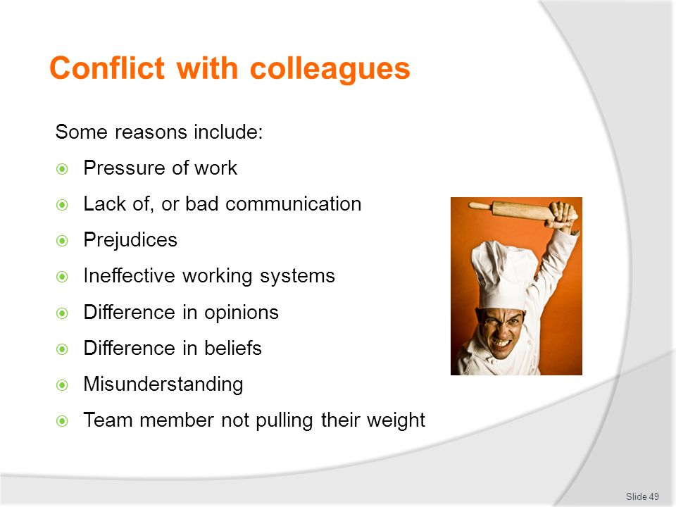 Conflict with colleagues