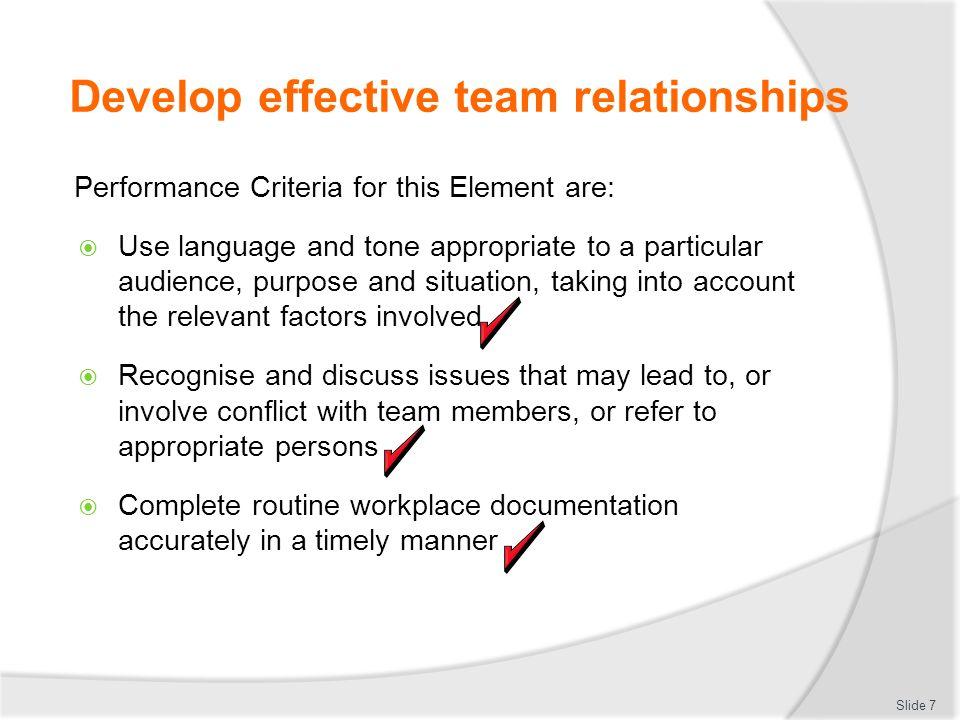 Develop effective team relationships