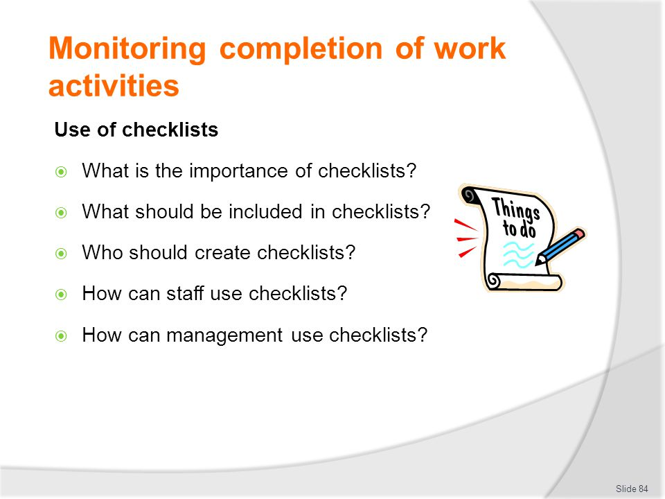 Monitoring completion of work activities