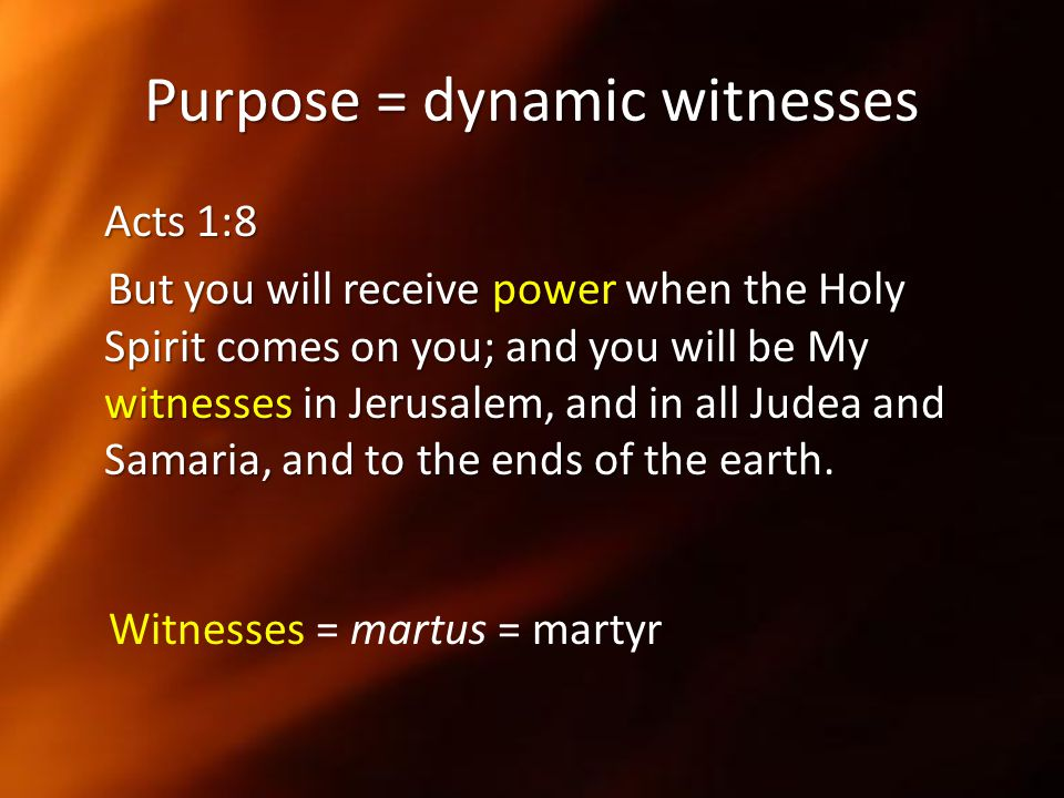 Purpose = dynamic witnesses
