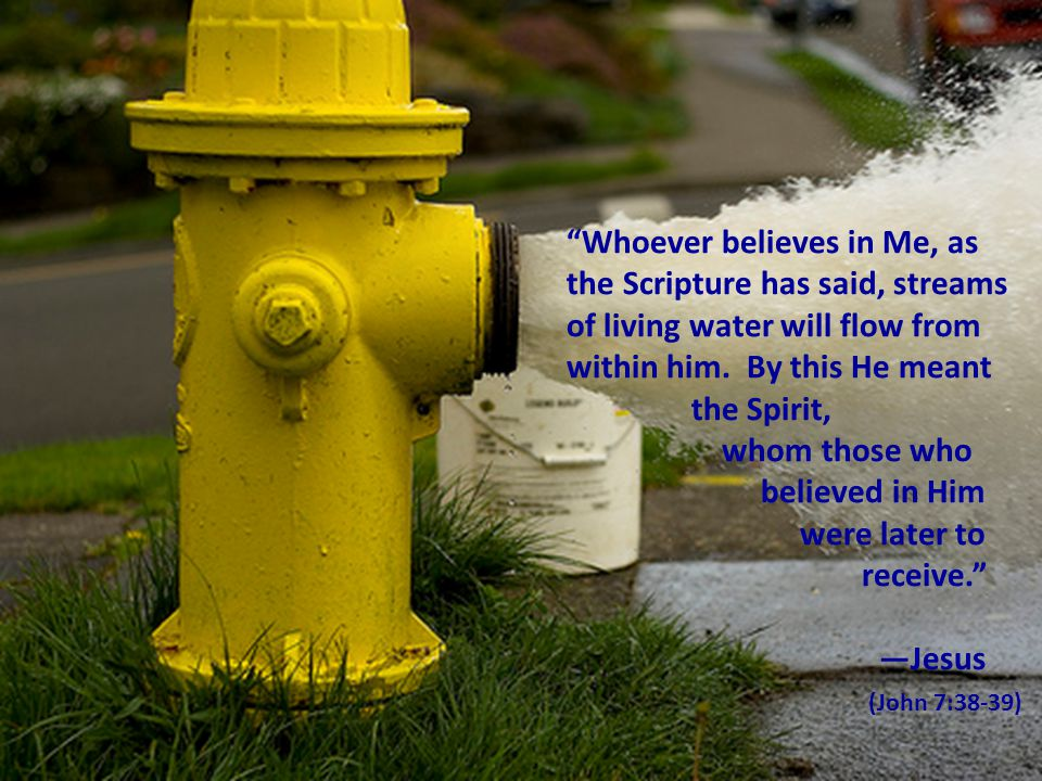 Whoever believes in Me, as the Scripture has said, streams of living water will flow from within him. By this He meant