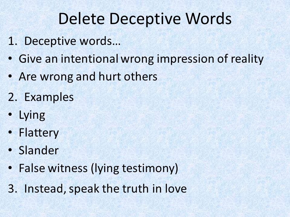 Delete Deceptive Words