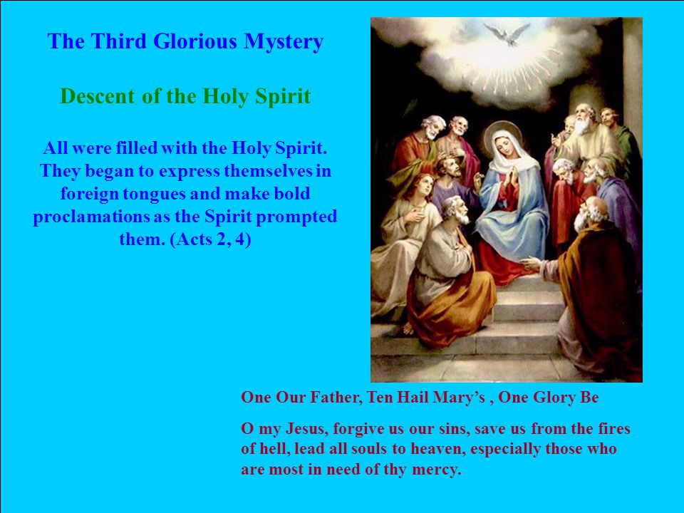 The Third Glorious Mystery Descent of the Holy Spirit