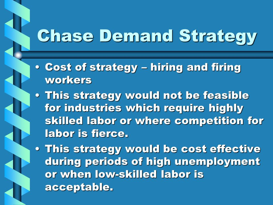 Chase Demand Strategy Cost of strategy – hiring and firing workers