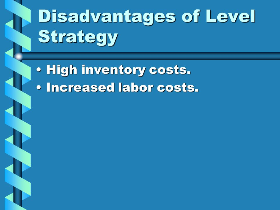 Disadvantages of Level Strategy