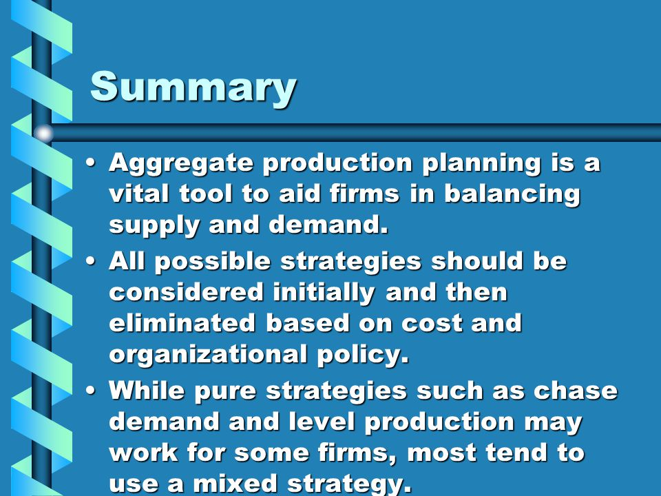 Summary Aggregate production planning is a vital tool to aid firms in balancing supply and demand.