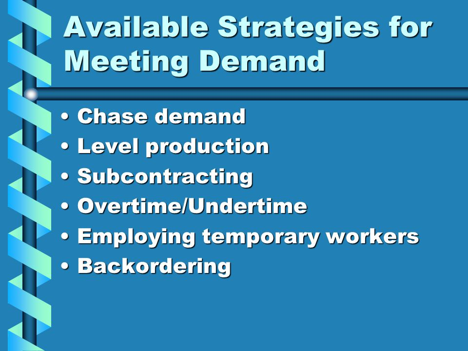 Available Strategies for Meeting Demand