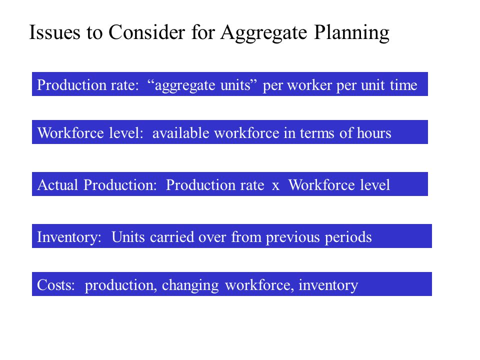 Issues to Consider for Aggregate Planning