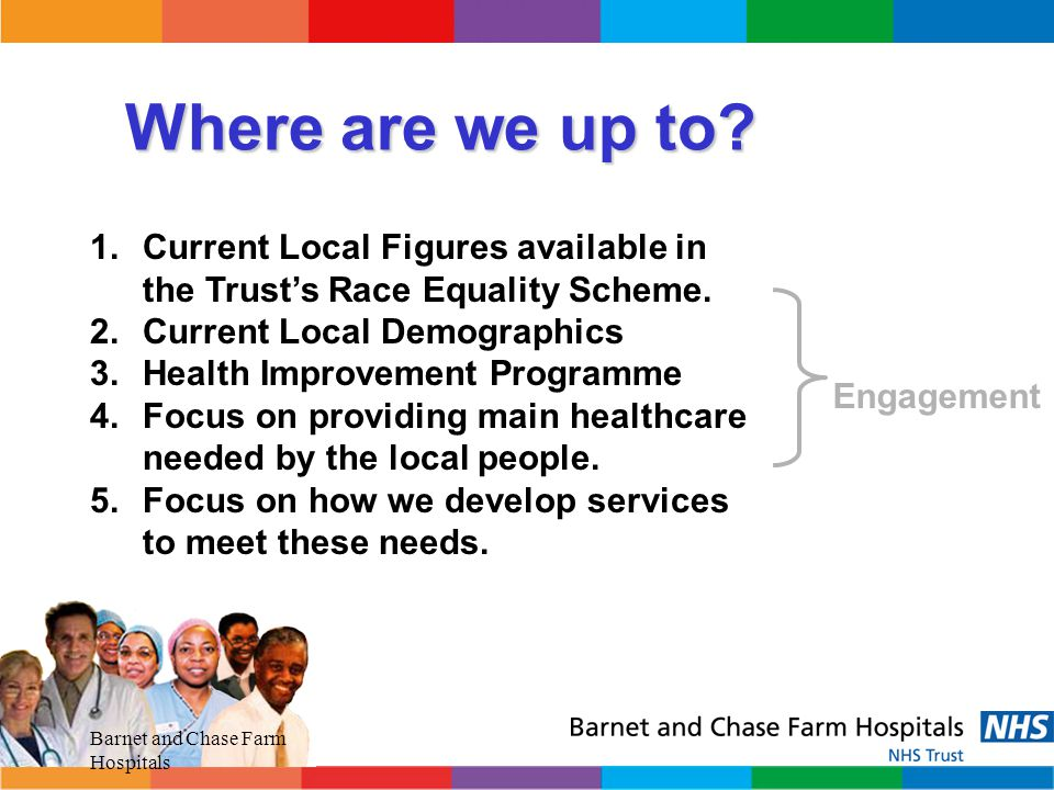 Where are we up to Current Local Figures available in the Trust's Race Equality Scheme. Current Local Demographics.