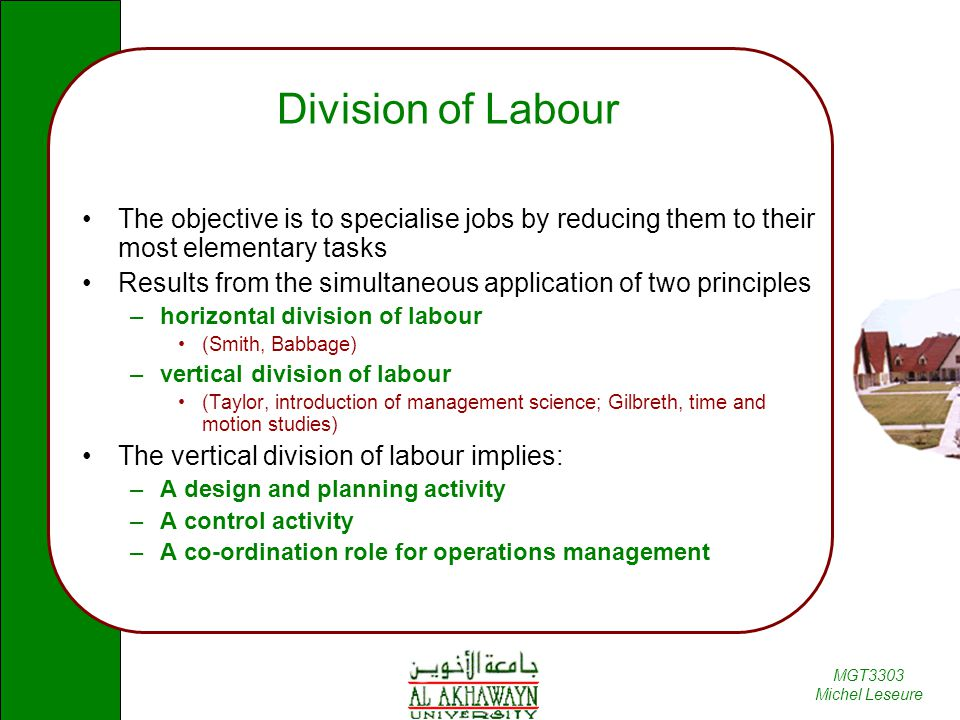 Division of Labour The objective is to specialise jobs by reducing them to their most elementary tasks.
