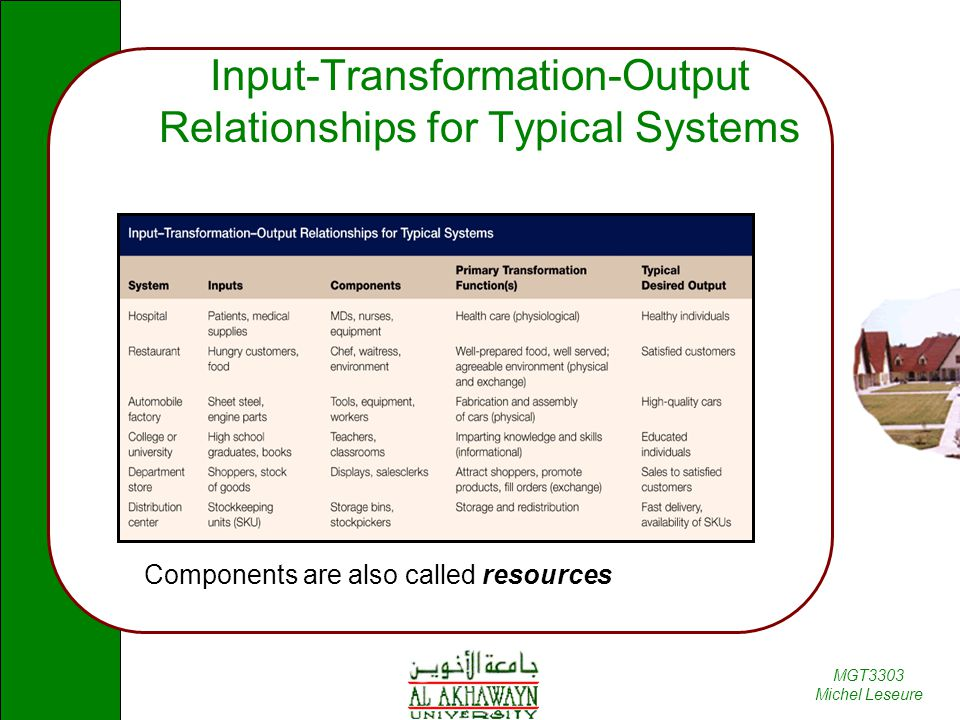 Input-Transformation-Output Relationships for Typical Systems