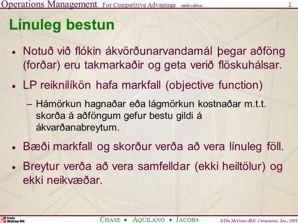 Línuleg bestun Notuð við flókin ákvörðunarvandamál þegar aðföng (forðar) eru takmarkaðir og geta verið flöskuhálsar.