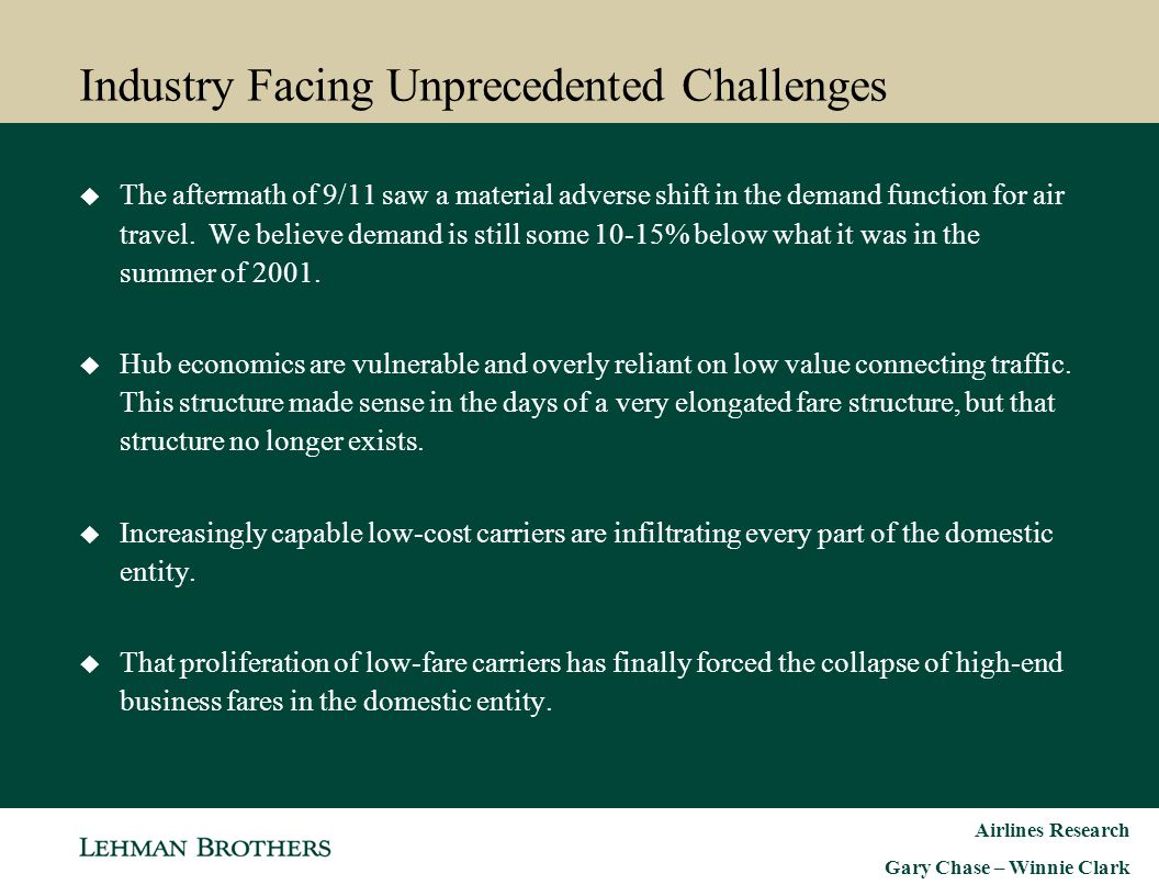 Industry Facing Unprecedented Challenges