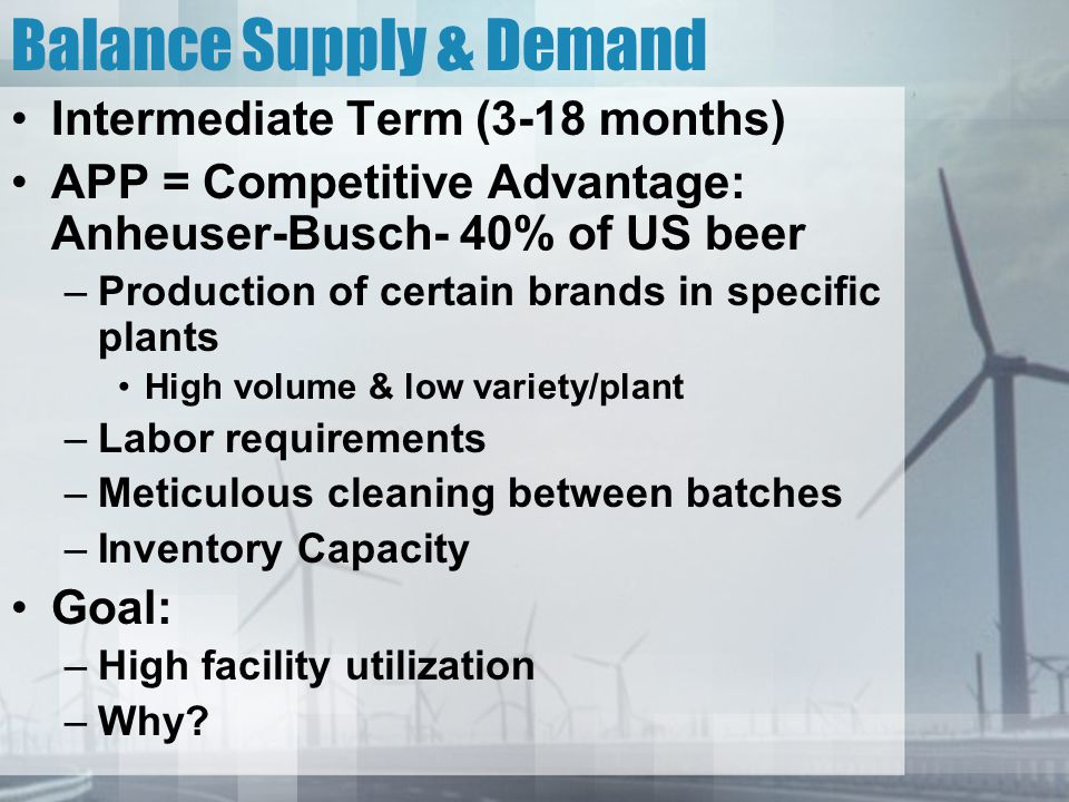 Balance Supply & Demand