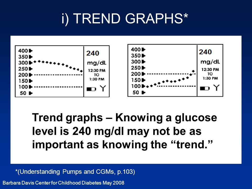 i) TREND GRAPHS* Trend graphs – Knowing a glucose level is 240 mg/dl may not be as important as knowing the trend.