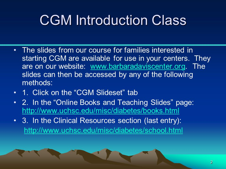 CGM Introduction Class