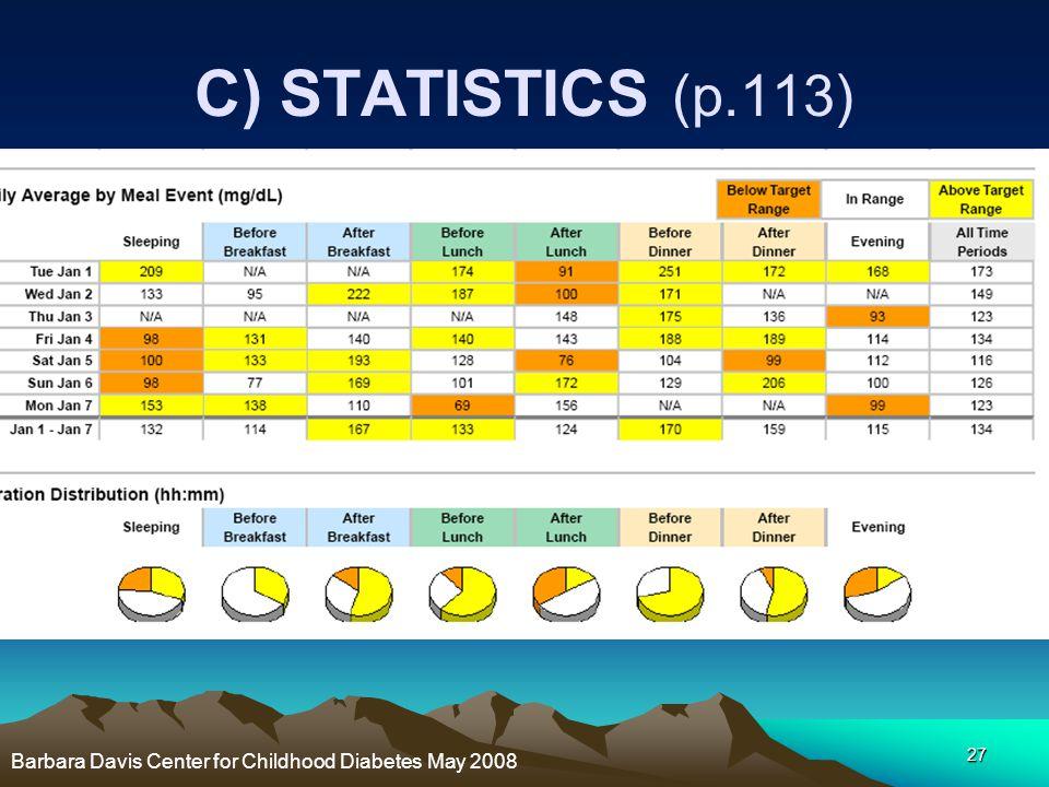 C) STATISTICS (p.113) Barbara Davis Center for Childhood Diabetes May 2008