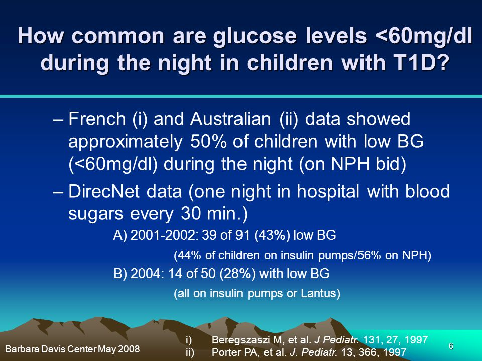How common are glucose levels <60mg/dl during the night in children with T1D