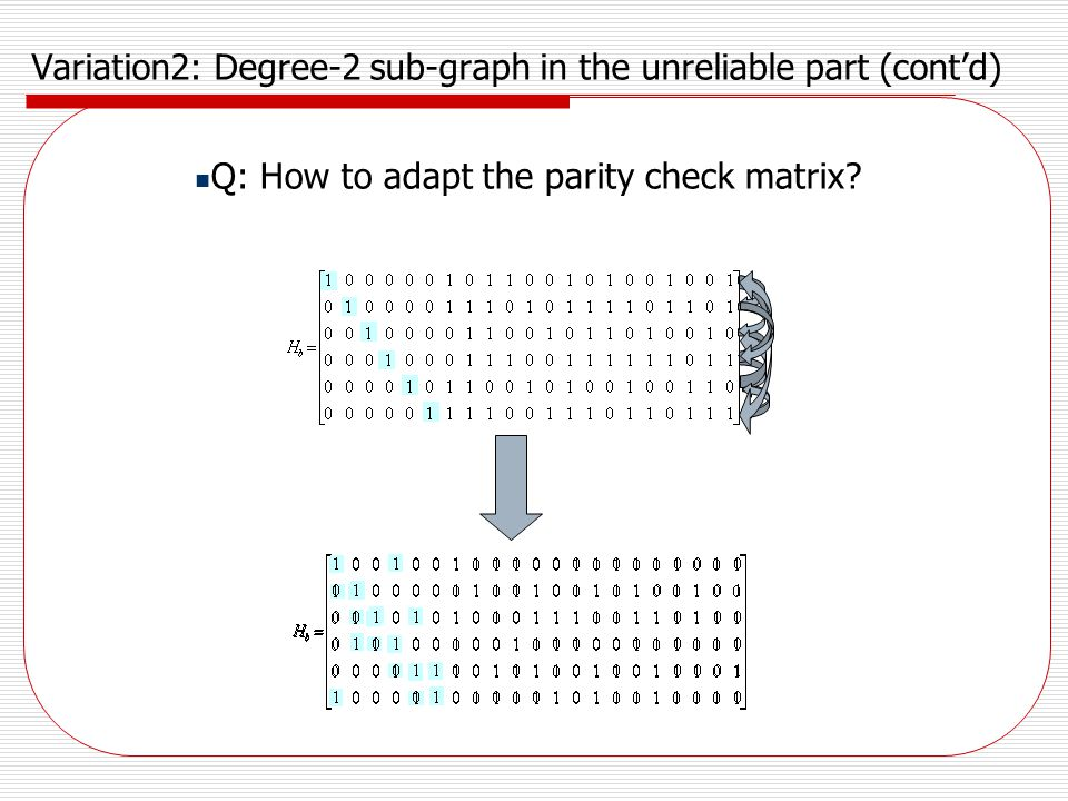 Variation2: Degree-2 sub-graph in the unreliable part (cont'd)