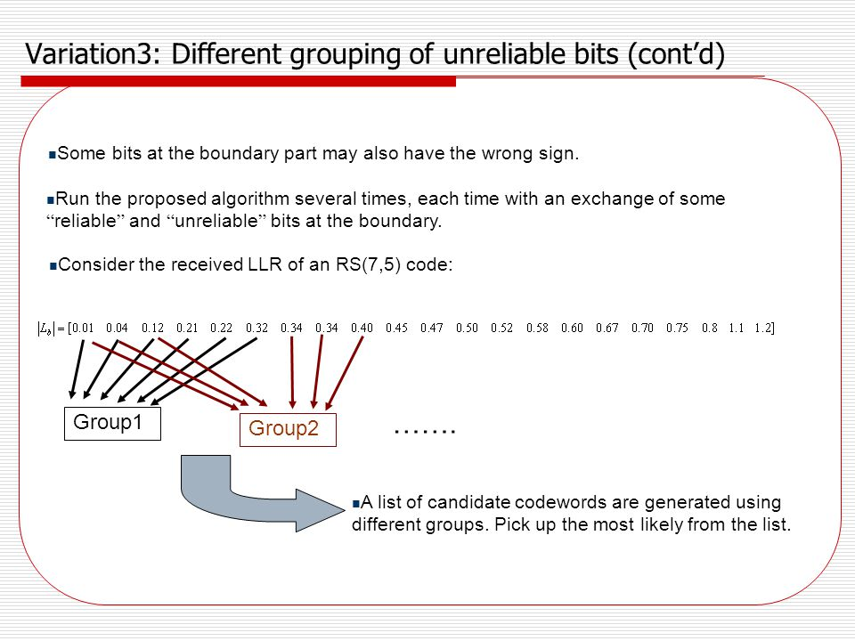 Variation3: Different grouping of unreliable bits (cont'd)