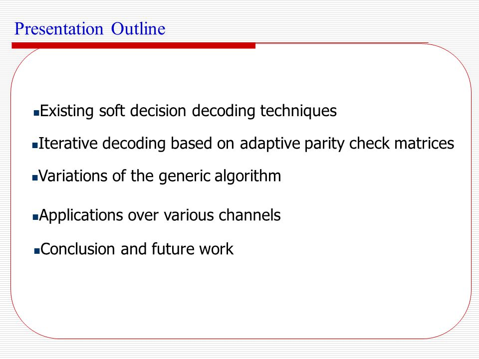 Presentation Outline Existing soft decision decoding techniques