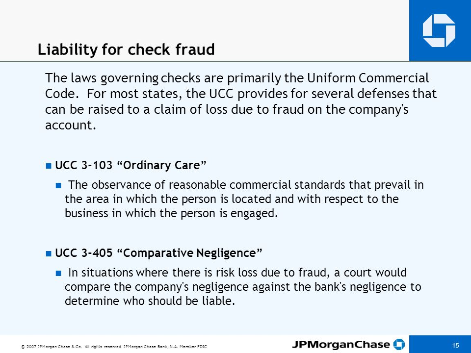 Liability for check fraud (cont'd)