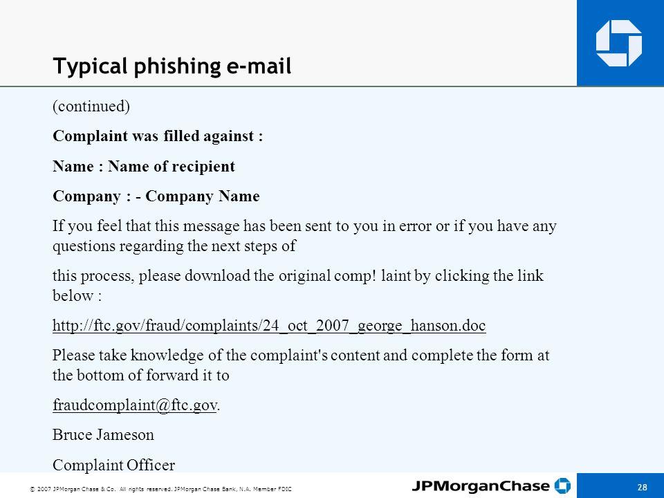 Variations on phishing e-mail