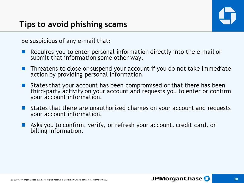 Tips to avoid phishing scams