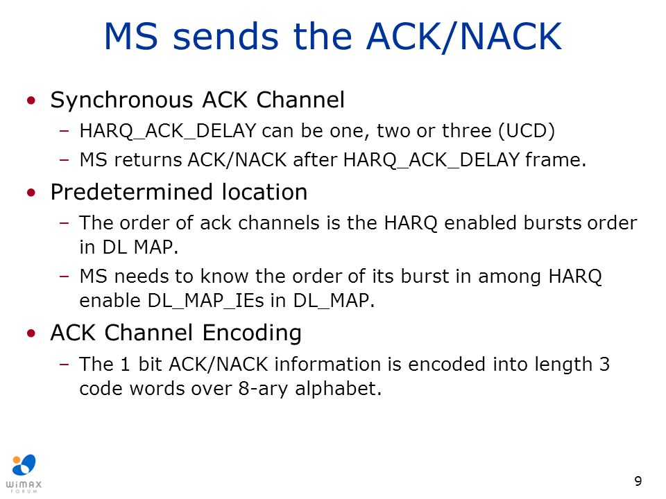 MS sends the ACK/NACK Synchronous ACK Channel Predetermined location