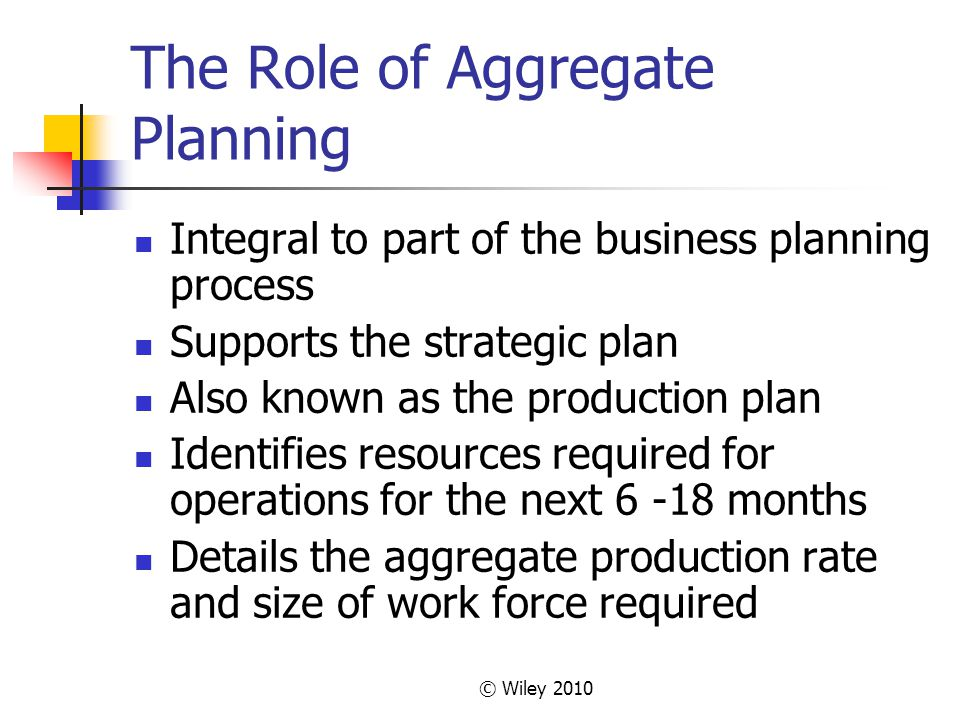 The Role of Aggregate Planning