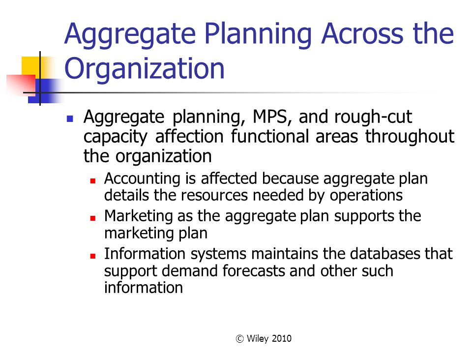 Aggregate Planning Across the Organization