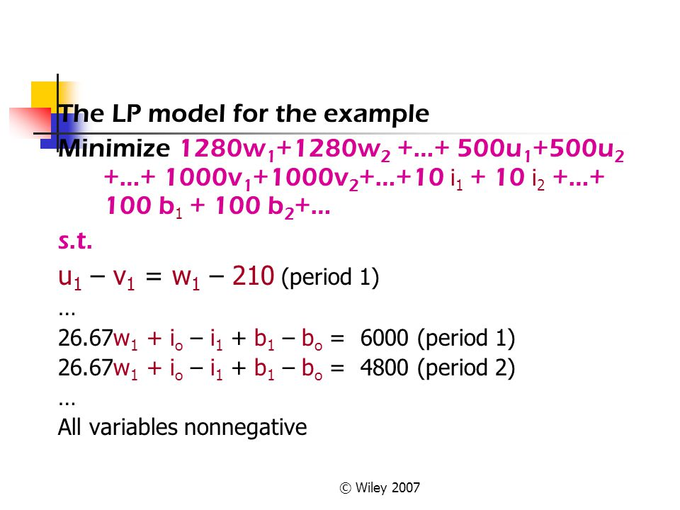 The LP model for the example