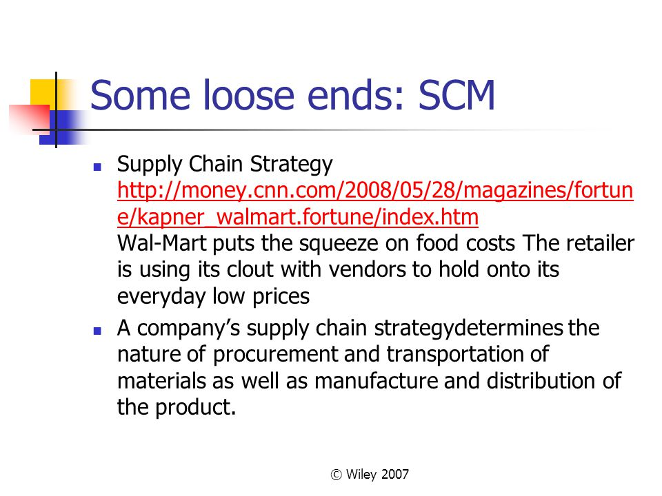 Some loose ends: SCM