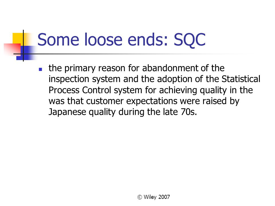 Some loose ends: SQC