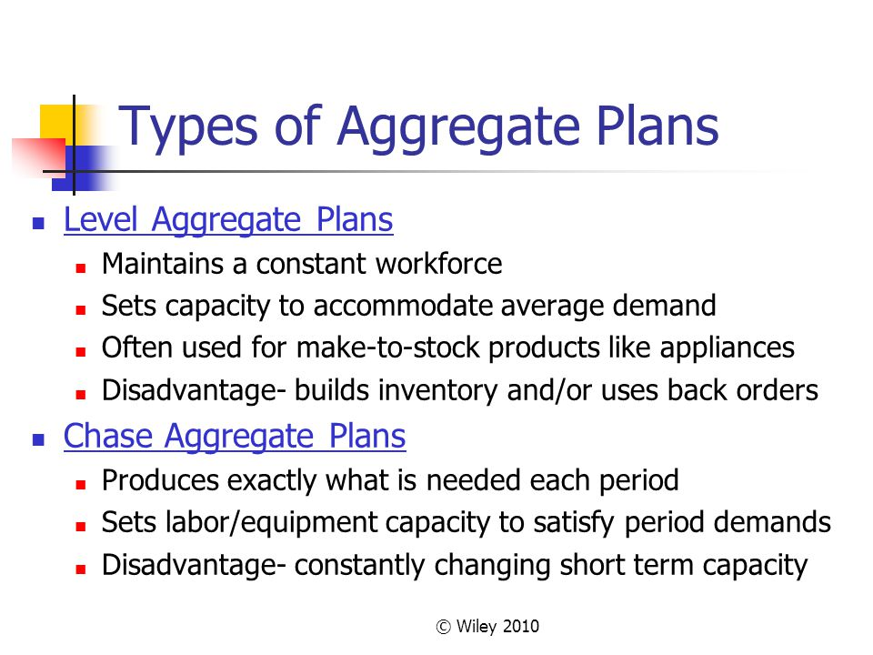Types of Aggregate Plans