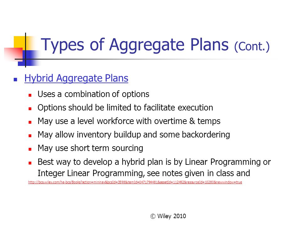 Types of Aggregate Plans (Cont.)