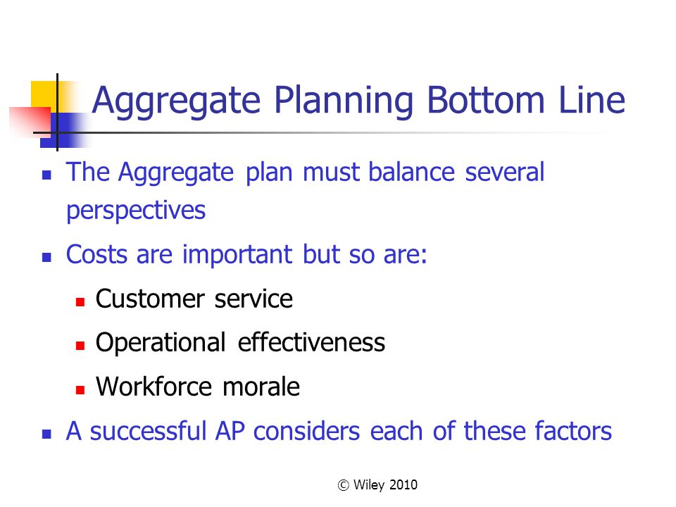 Aggregate Planning Bottom Line