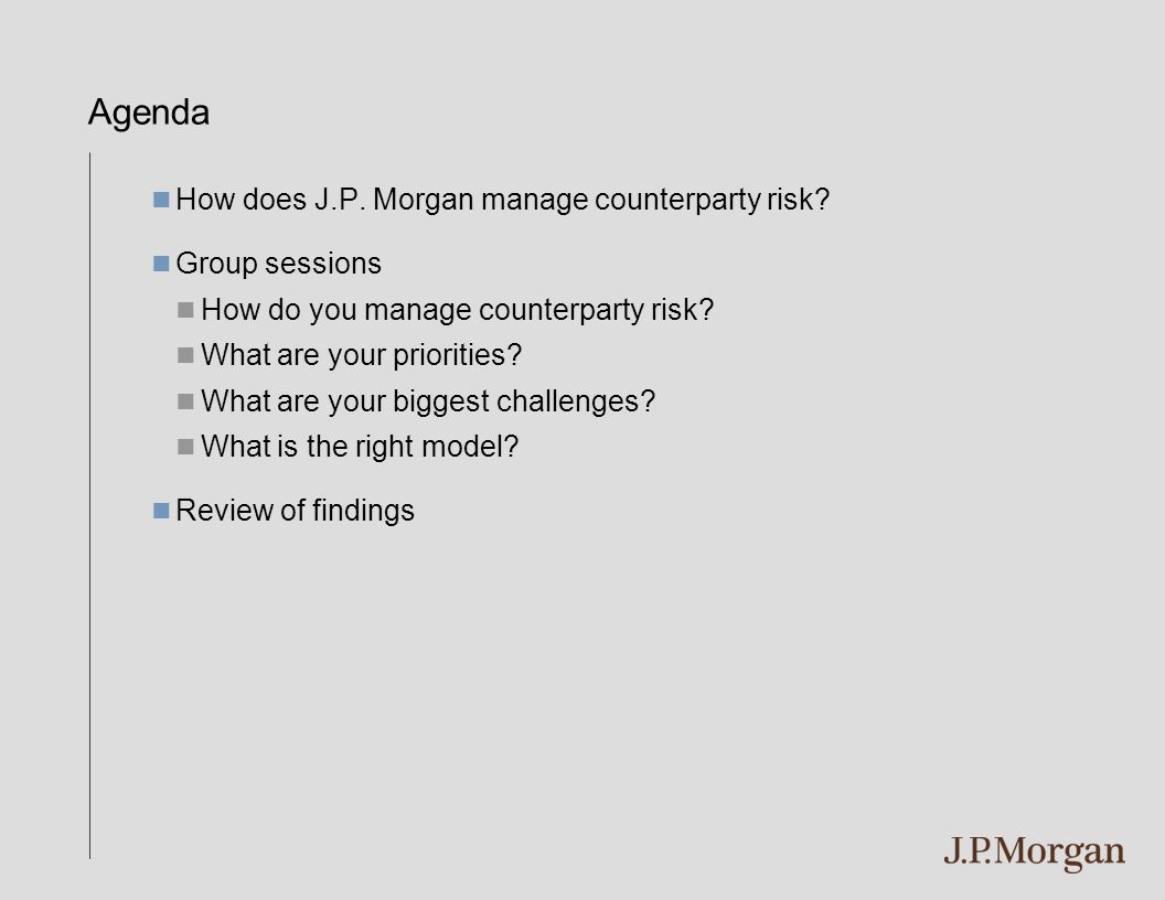 How does J.P. Morgan manage Counterparty Risk