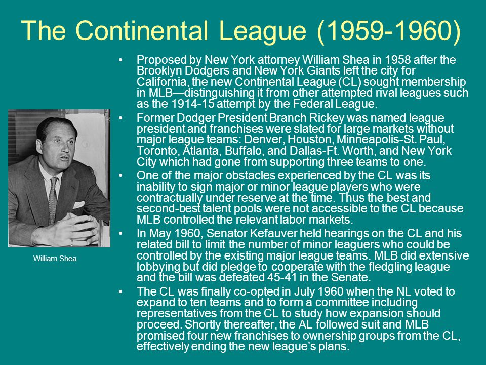 The Continental League (1959-1960)
