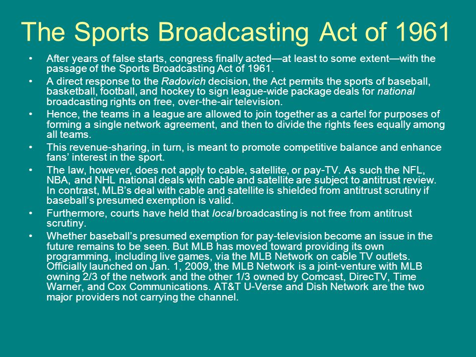 The Sports Broadcasting Act of 1961