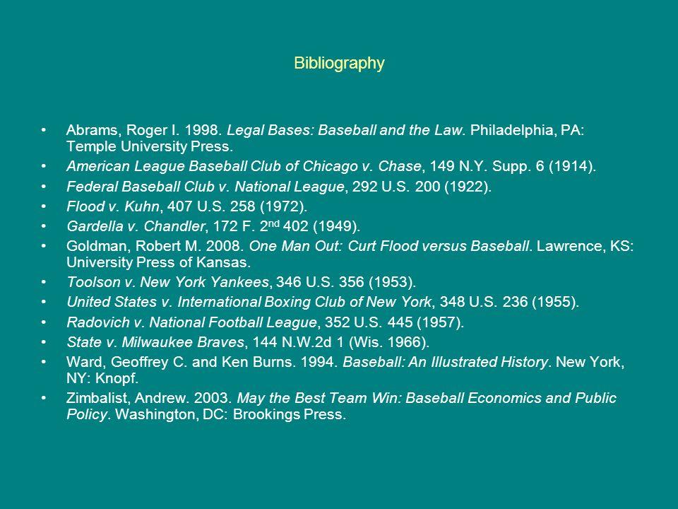 Bibliography Abrams, Roger I. 1998. Legal Bases: Baseball and the Law. Philadelphia, PA: Temple University Press.