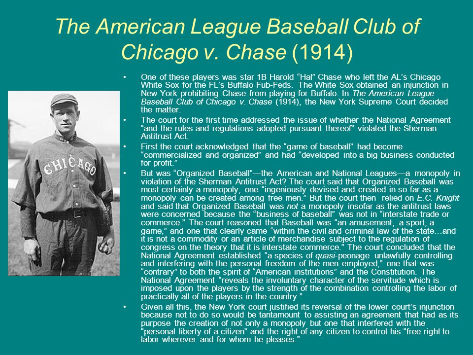 The American League Baseball Club of Chicago v. Chase (1914)