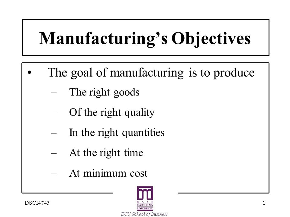 Manufacturing's Objectives