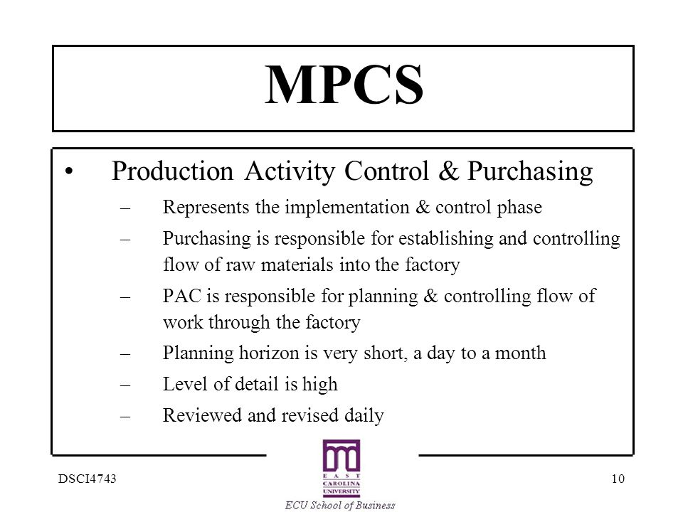 MPCS Production Activity Control & Purchasing