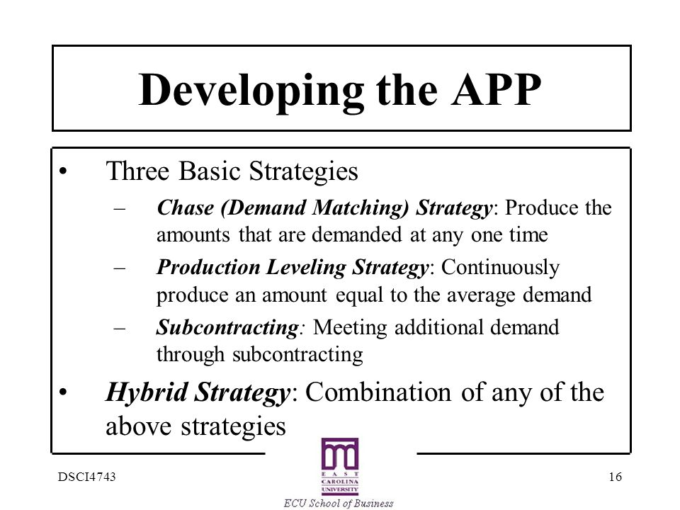 Developing the APP Three Basic Strategies