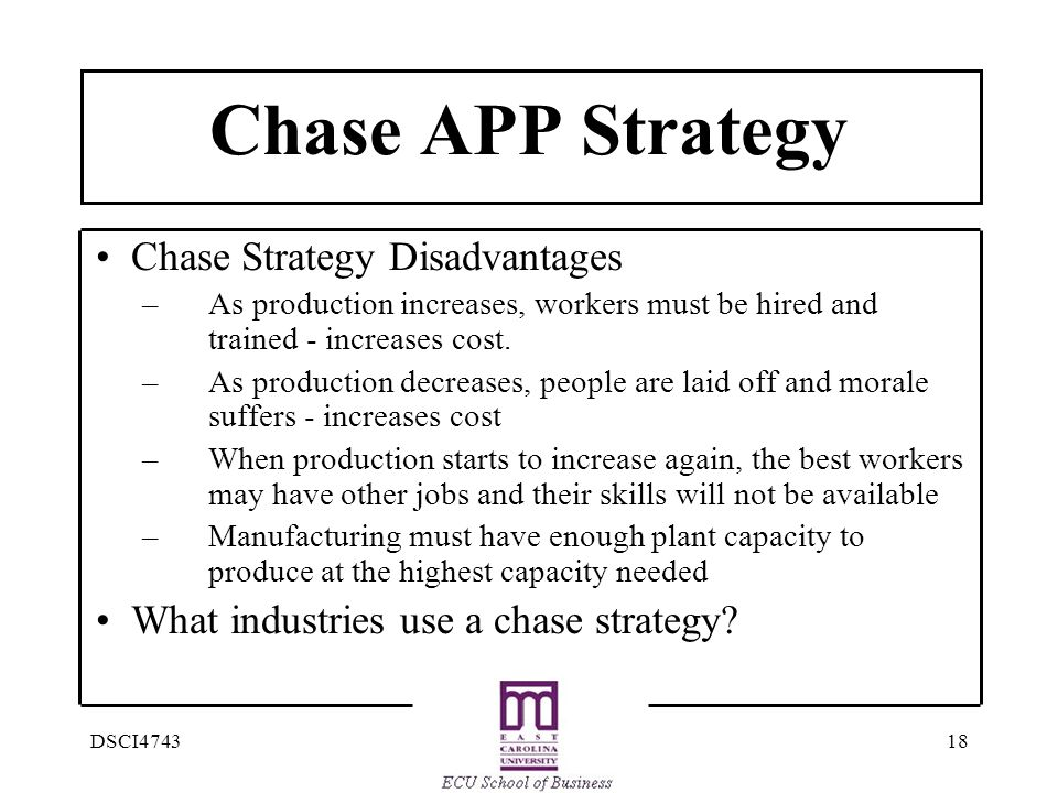 Chase APP Strategy • Chase Strategy Disadvantages