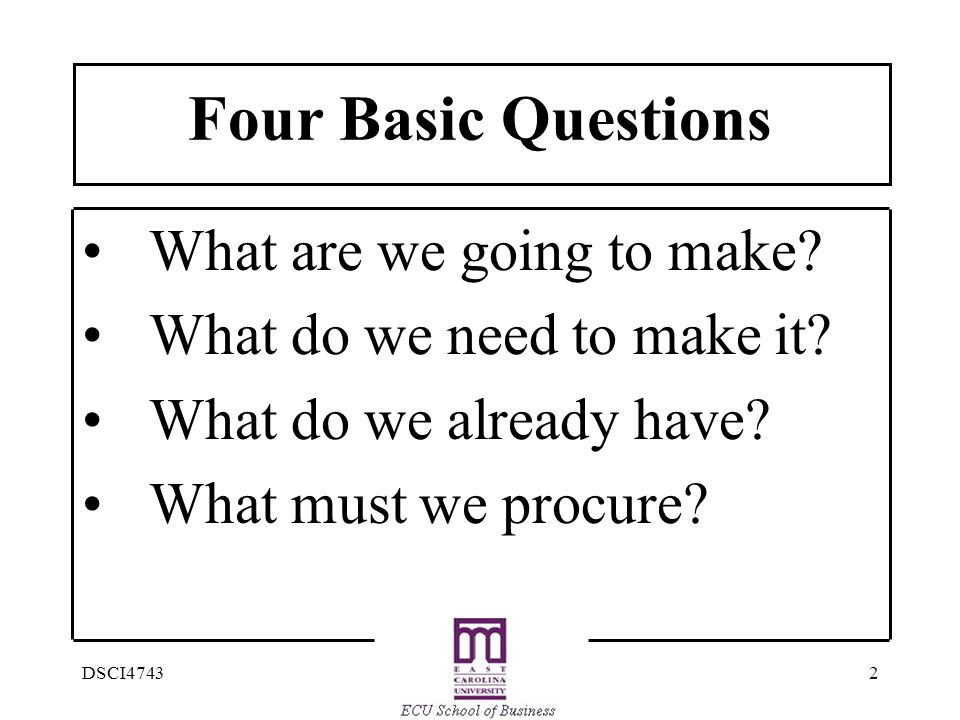 Four Basic Questions What are we going to make